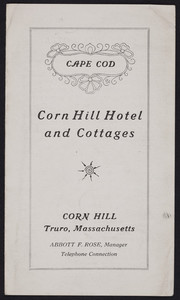 Brochure for the Corn Hill Hotel and Cottages, Corn Hill, Truro, Mass., undated
