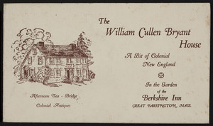 Brochure for The William Cullen Bryant House, Great Barrington, Mass., undated