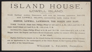 Trade card for the Island House, Lowell Island, Mass., undated