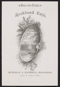 Menu cover for the Rockland Café, location unknown, 1880