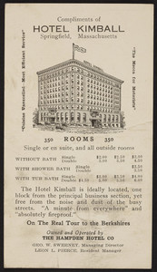 Trade card for the Hotel Kimball, Springfield, Mass., 1916