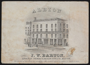 Trade card for the Albion, hotel, corner of Tremont & Beacon Streets, Boston, Mass., undated