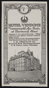 Advertisement for the Hotel Vendome, Commonwealth Avenue at Dartmouth Street, Boston, Mass., July 1922
