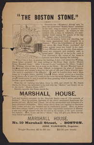 Broadside for the Marshall House, lodging house, No. 10 Marshall Street, Boston, Mass, undated