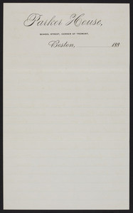 Letterhead for the Parker House, hotel, School Street, corner of Tremont, Boston, Mass., 1880s