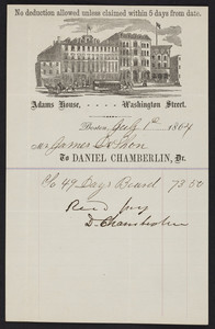 Billhead for the Adams House, hotel, Washington Street, Boston, Mass., dated July 1, 1864