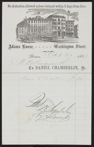 Billhead for the Adams House, hotel, Washington Street, Boston, Mass., dated October 31, 1867