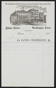 Billhead for the Adams House, hotel, Washington Street, Boston, Mass., dated May 31, 1868