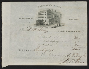 Billhead for the Merchant's Hotel, 42 Hanover Street, Boston, Mass., dated March 19, 1831