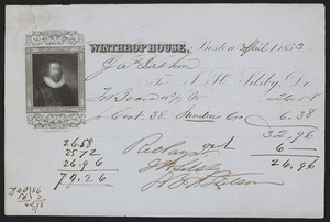 Billhead for the Winthrop House, hotel, corner of Tremont and Boylston Streets, Boston, Mass., dated April 1, 1853