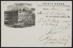 Billhead for the Quincy House, hotel, corner of Brattle Street and Brattle Square, Boston, Mass., dated June 1, 1853
