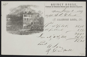Billhead for the Quincy House, hotel, corner of Brattle Street and Brattle Square, Boston, Mass., dated January 1, 1859