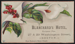 Trade card for Blanchard's Hotel, 27 & 29 Washington Street, Boston, Mass., undated