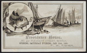 Trade card for the Providence House, lodging house, No. 235 Pleasant Street, Boston, Mass., January 15, 1881