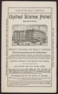 New pocket map of Boston and surrounding country, Tilly Haynes, United States Hotel, corner of Kingston, Beach and Lincoln Streets, Boston, Mass., 1889