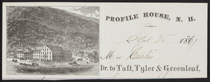 Billhead for the Profile House, Franconia Notch, New Hampshire, dated September 25, 1867