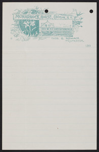 Letterhead for the Monadnock House, hotel, Colebrook, New Hampshire, dated October 30, 1894
