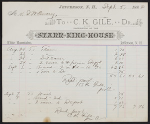 Billhead for the Starr King House, White Mountains, Jefferson, New Hampshire, dated September 5, 1882