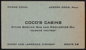 Trade card for Coco's Cabins, Derry and Lawrence Highway, Route 28, Derry, New Hampshire, 1946-1947