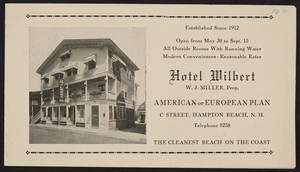 Brochure for the Hotel Wilbert, C Street, Hampton Beach, New Hampshire, undated
