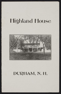 Brochure for the Highland House, inn, Durham, New Hampshire, undated