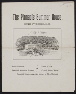 Brochure for The Pinnacle Summer House, summer resort, South Lyndeboro, New Hampshire, undated