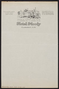 Letterhead for the Hotel Moody, Claremont, New Hampshire, undated