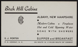Trade card for Birch Hill Cabins, Route 16, Albany, New Hampshire, undated