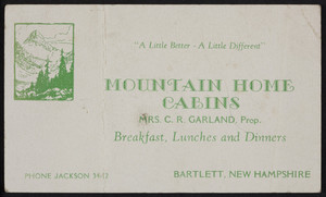 Trade card for the Mountain Home Cabins, Bartlett, New Hampshire, undated