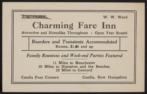 Trade card for the Charming Fare Inn, Candia Four Corners, Candia, New Hampshire, undated