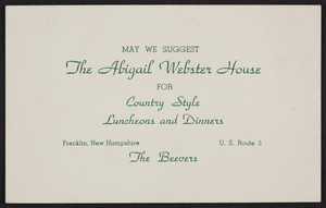 Postcard for The Abigail Webster House, hotel, U.S. Route 3, Franklin, New Hampshire, dated December 12, 1947