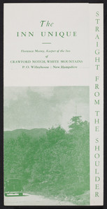 Brochure for The Inn Unique, Crawford Notch, White Mountains, New Hampshire, 1940s