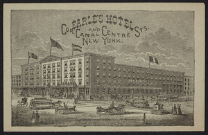 Brochure for Earle's Hotel, corner Canal and Centre Streets, near Broadway, New York, New York, undated