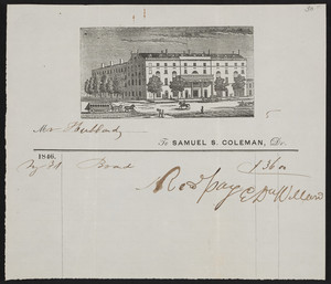 Billhead for the National Hotel, location unknown, May 3, 1846