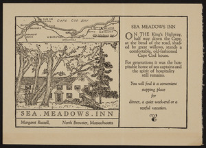 Trade card for the Sea Meadows Inn, King's Highway, North Brewster, Massachusetts, undated