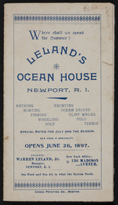 Brochure for Leland's Ocean House, Newport, Rhode Island, 1897