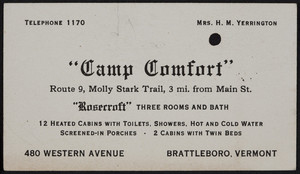 Trade card for Camp Comfort, cabins, 480 Western Avenue, Brattleboro, Vermont, undated
