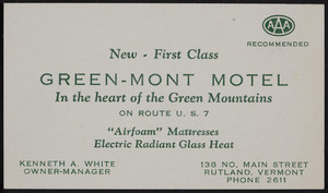 Trade card for the Green-Mont Motel, Route U.S.7, 138 No. Main Street, Rutland, Vermont, undated