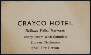 Trade card for the Crayco Hotel, Bellows Falls, Vermont, undated