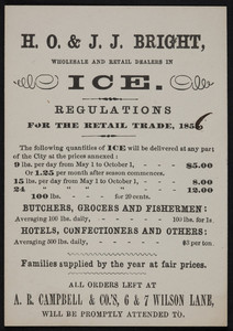 Trade card for H.O. & J.J. Bright, wholesale and retail dealers in ice, 1856