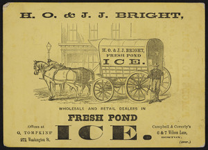 Trade card for Fresh Pond Ice, H.O. & J.J. Bright wholesale and retail dealers, offices at O. Tompkins', 271 Washington Street and Campbell & Coverly's, 6 & 7 Wilson Lane, Boston, Mass., 1861