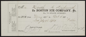 Receipt for the Boston Ice Company, No. 76 State Street, Boston, Mass., dated October 8, 1878