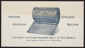 Price list for Imperial Belting, manufactured by Boston Belting Co., Boston, Mass., undated