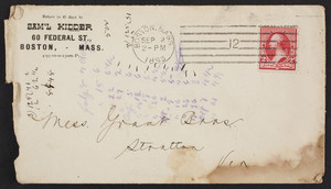 Billhead for Sam'l Kidder, belting, packing & mill supplies, 60 Federal Street, Boston, Mass., dated August 31, 1893