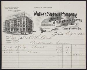 Billhead for the Walker Stetson Company, manufacturers, importers and jobbers, Essex & Lincoln Streets, Boston, Mass., dated May 2, 1902