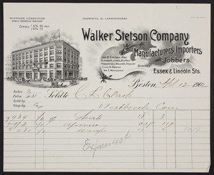 Billhead for the Walker Stetson Company, manufacturers, importers and jobbers, Essex & Lincoln Streets, Boston, Mass., dated April 12, 1902
