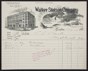 Billhead for the Walker Stetson Company, manufacturers, importers and jobbers, Essex & Lincoln Streets, Boston, Mass., dated August 29, 1902