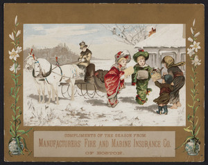 Greeting card for the Manufacturers' Fire and Marine Insurance Co., Boston, Mass., undated
