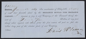 Promissory note for the Mechanics' Mutual Fire Insurance Company, Boston, Mass., dated June 13, 1861