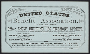 Trade card for the United States Benefit Association of Boston, Mass., Snow Building, 160 Tremont Street, Boston, Mass., undated